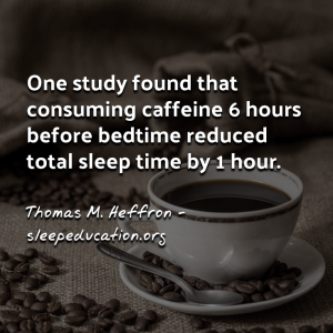 """One study found that consuming caffeine 6 hours before bedtime reduced total sleep time by 1 hour."""