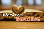 A book half open and text that reads: Weekend Reading