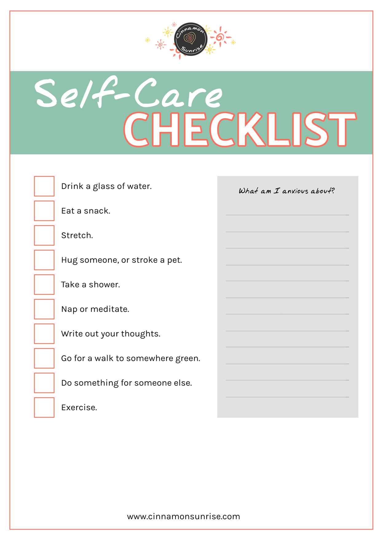 Self-Care Checklist