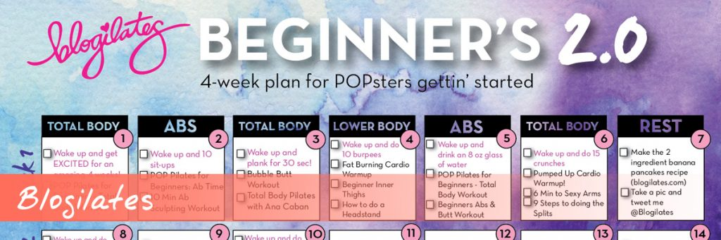Blogilates YouTube Workout Calendar