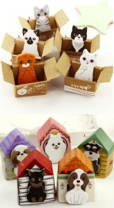 Cat and dog sticky notes gift idea