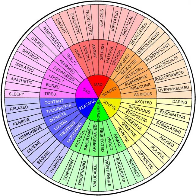 An emotion wheel to help you recognise emotions